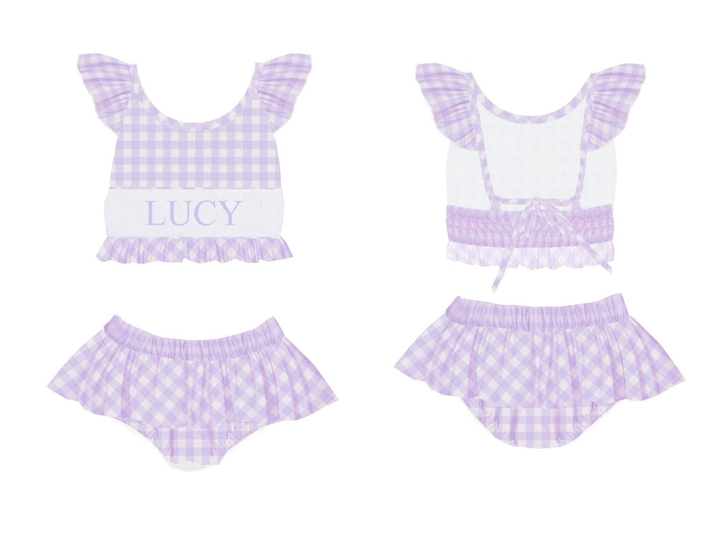 Personalized Lavender Check 2 Piece Swimsuit