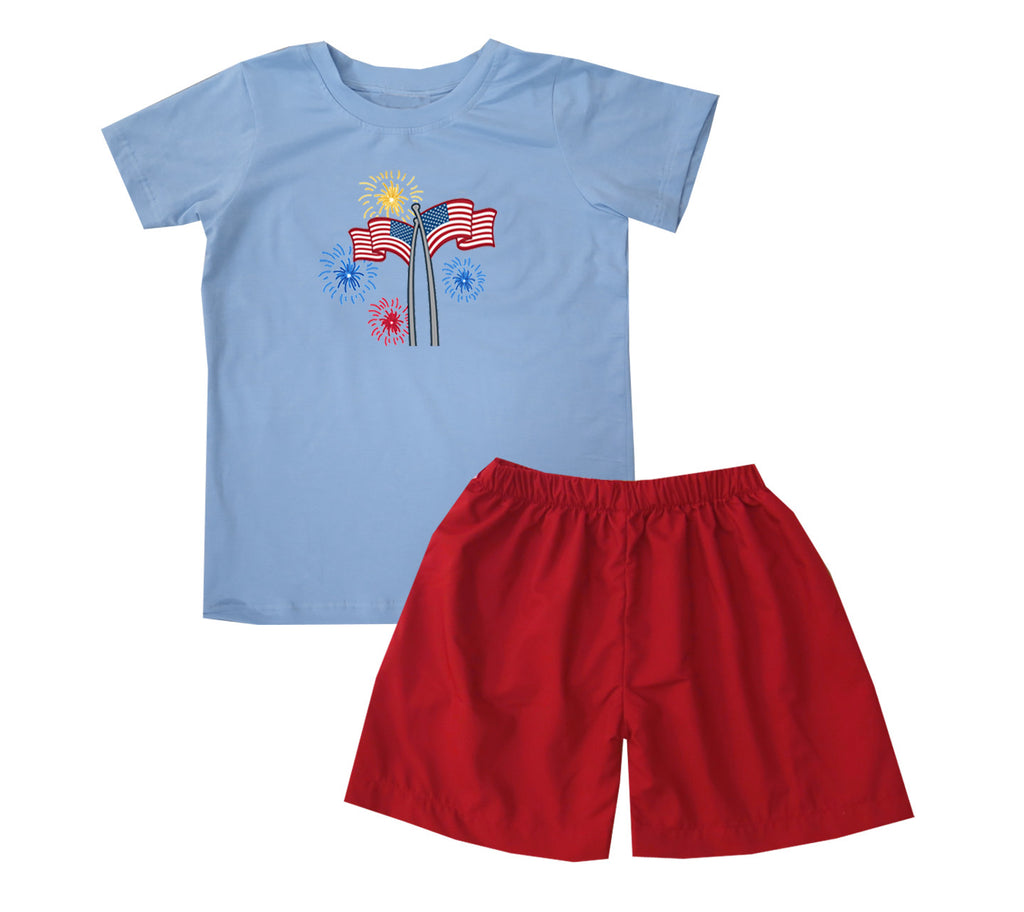 2020 Firework Flag Tshirt Short Set