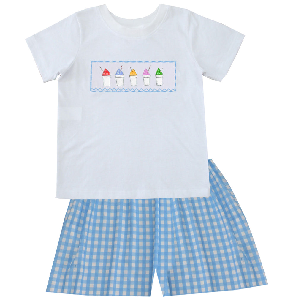 2020 Snowball Blue Gingham Boy Short Set