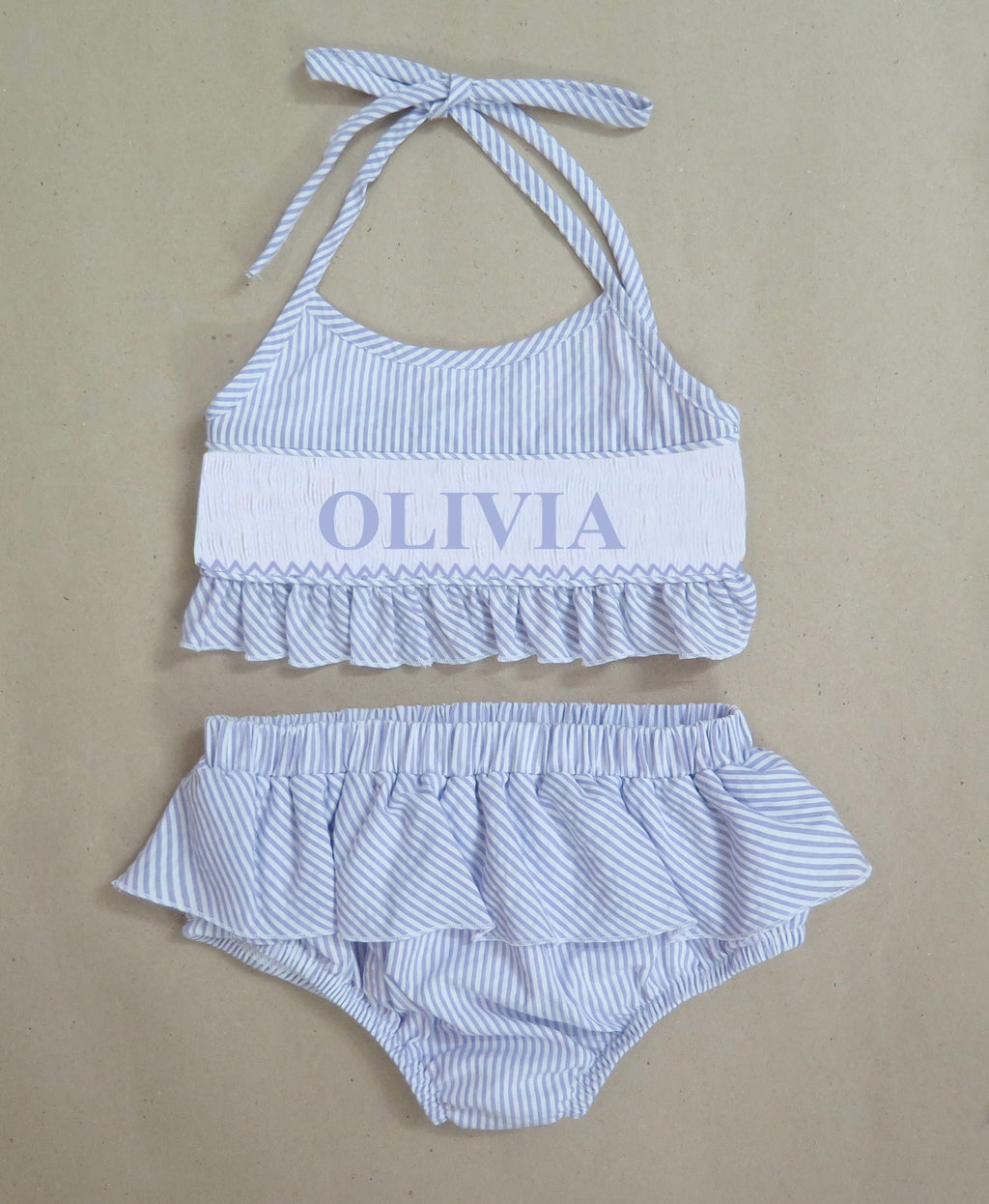 Personalized Blue Seersucker Bikini Swimsuit