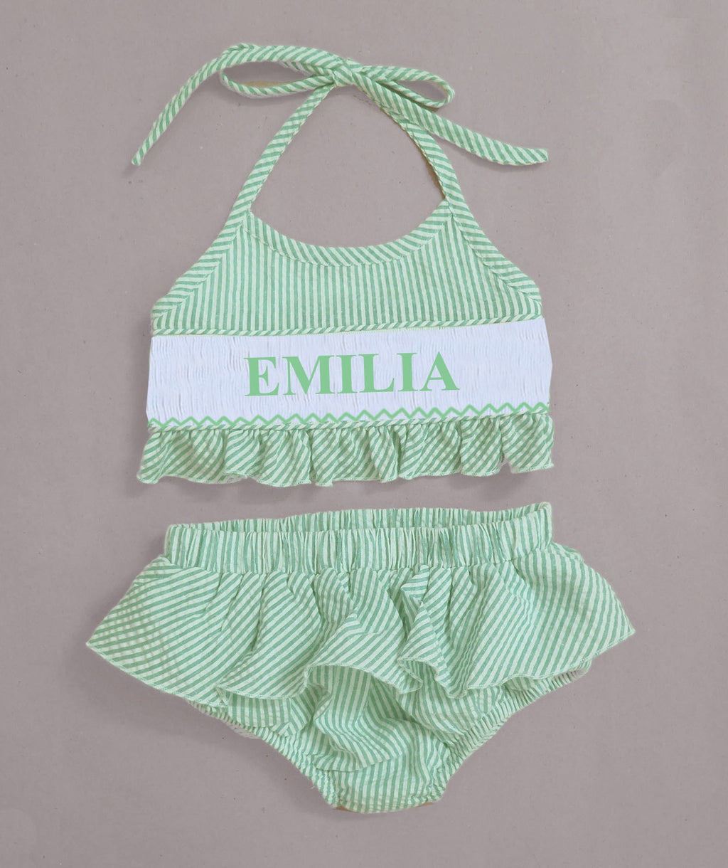 Personalized Lime Seersucker Bikini Swimsuit