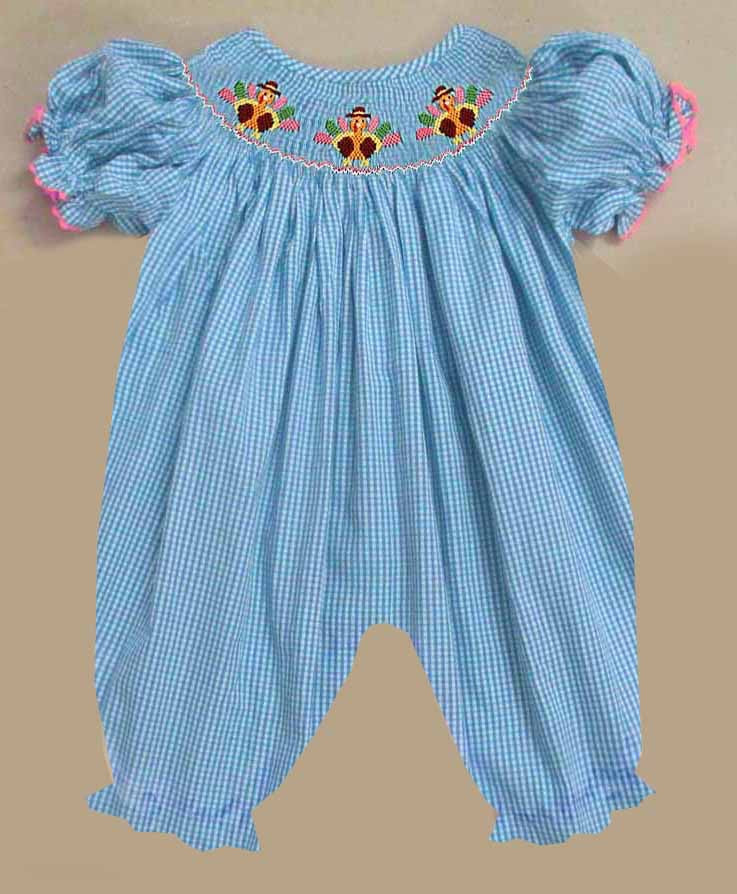 Aqua Gingham Turkey Girls Romper