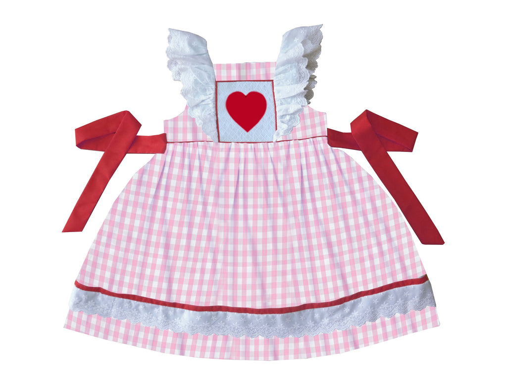 2019 valentines Gingham heart Pinafore