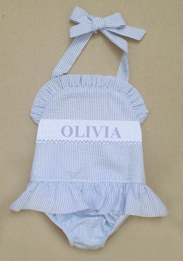 Personalized Blue Seersucker 1 Piece Swimsuit