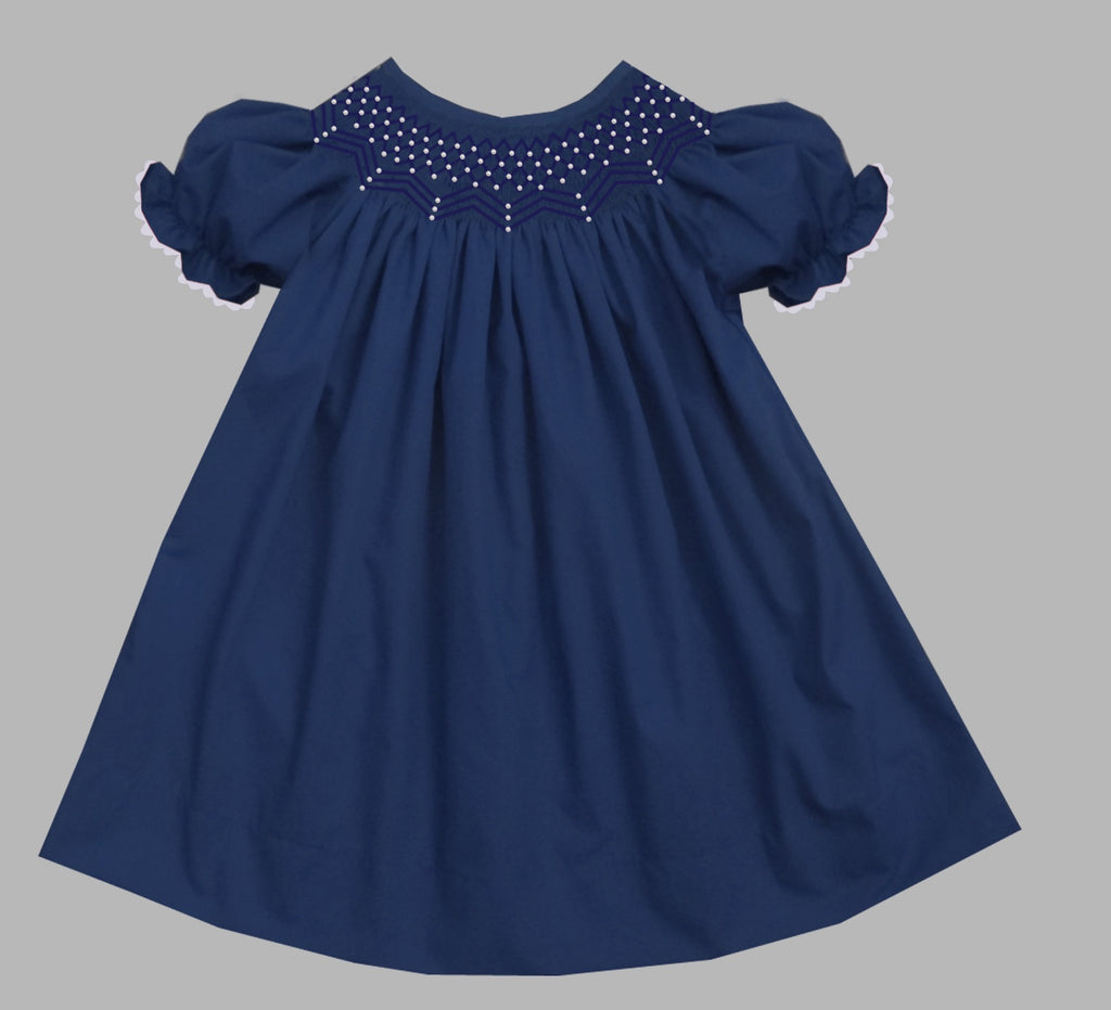 2019 Solid Pearl Short Sleeve Bishop Dress Navy