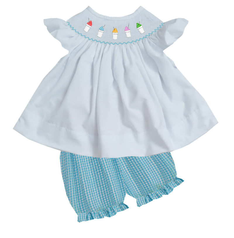 2020 Snowball Aqua Seersucker Girl Bloomer Set