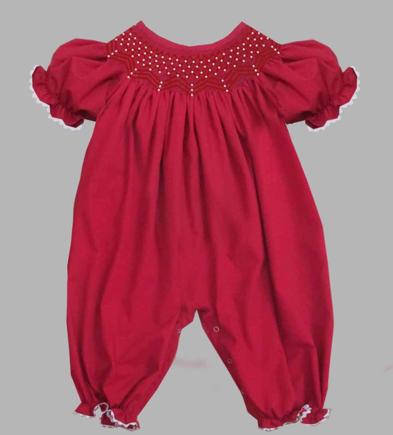 2019 Solid Pearl Romper Red