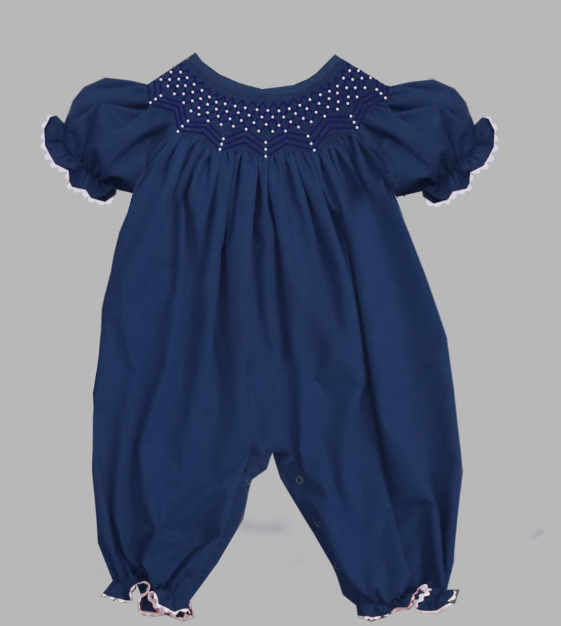 2019 Solid Pearl Romper Navy