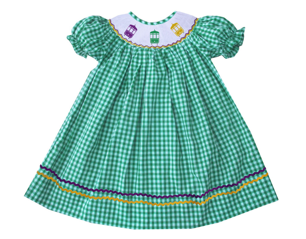 2019 MARDI GRAS streetcar green Gingham bishop dress