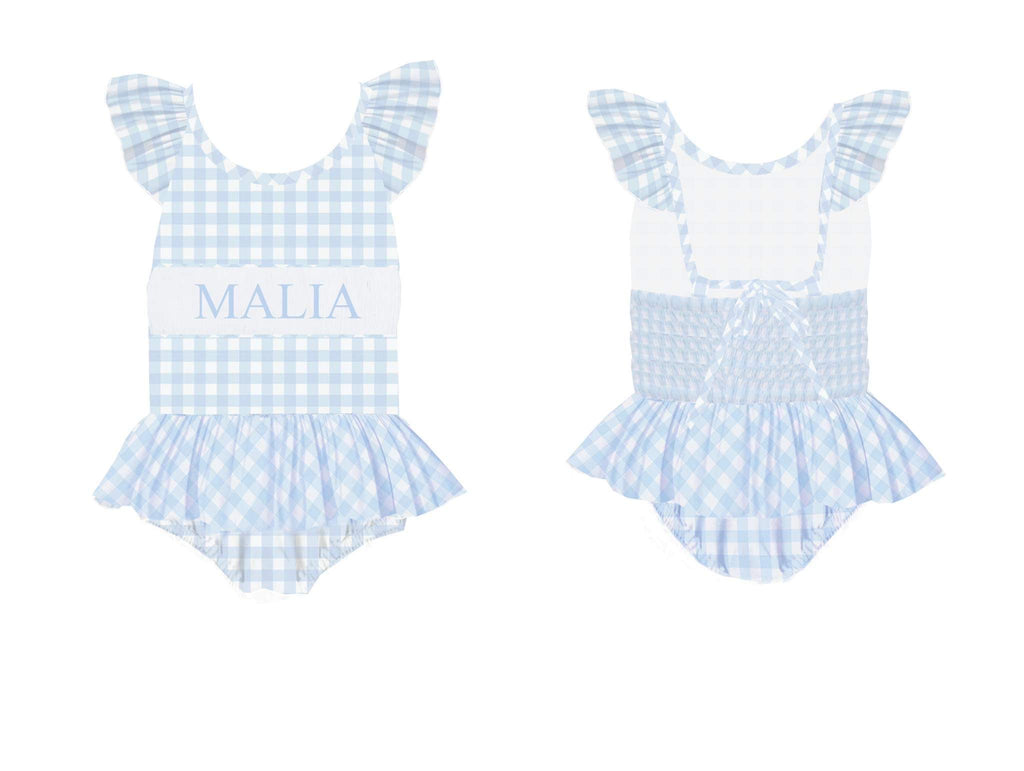 Personalized Blue Check 1 Piece Swimsuit