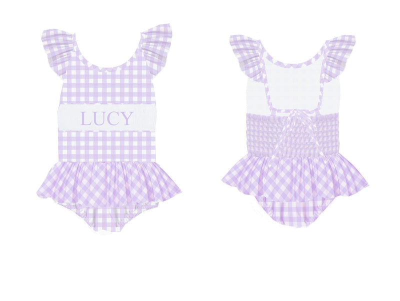Personalized Lavender Check 1 Piece Swimsuit