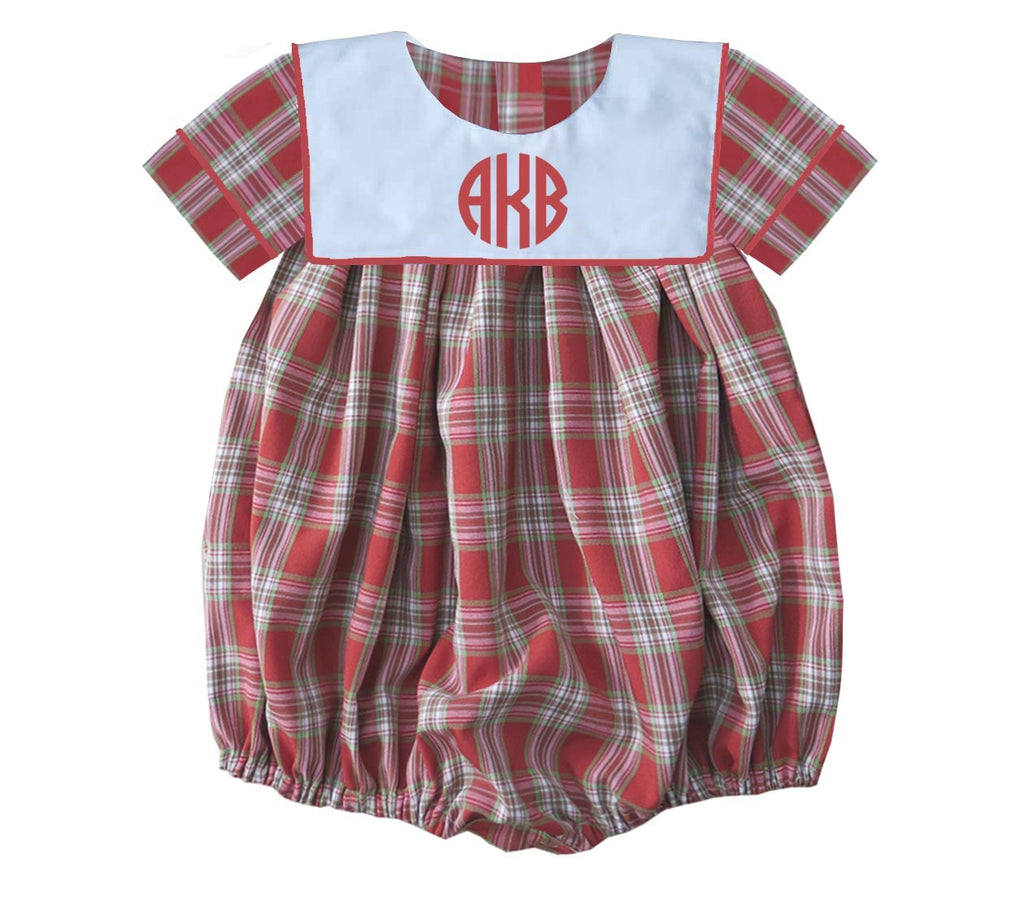 2019 Plaid Christmas Bib Boys Bubble