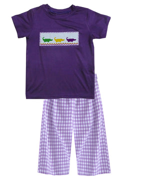 2019 MARDI GRAS Alligator purple T-shirt Gingham pant Set