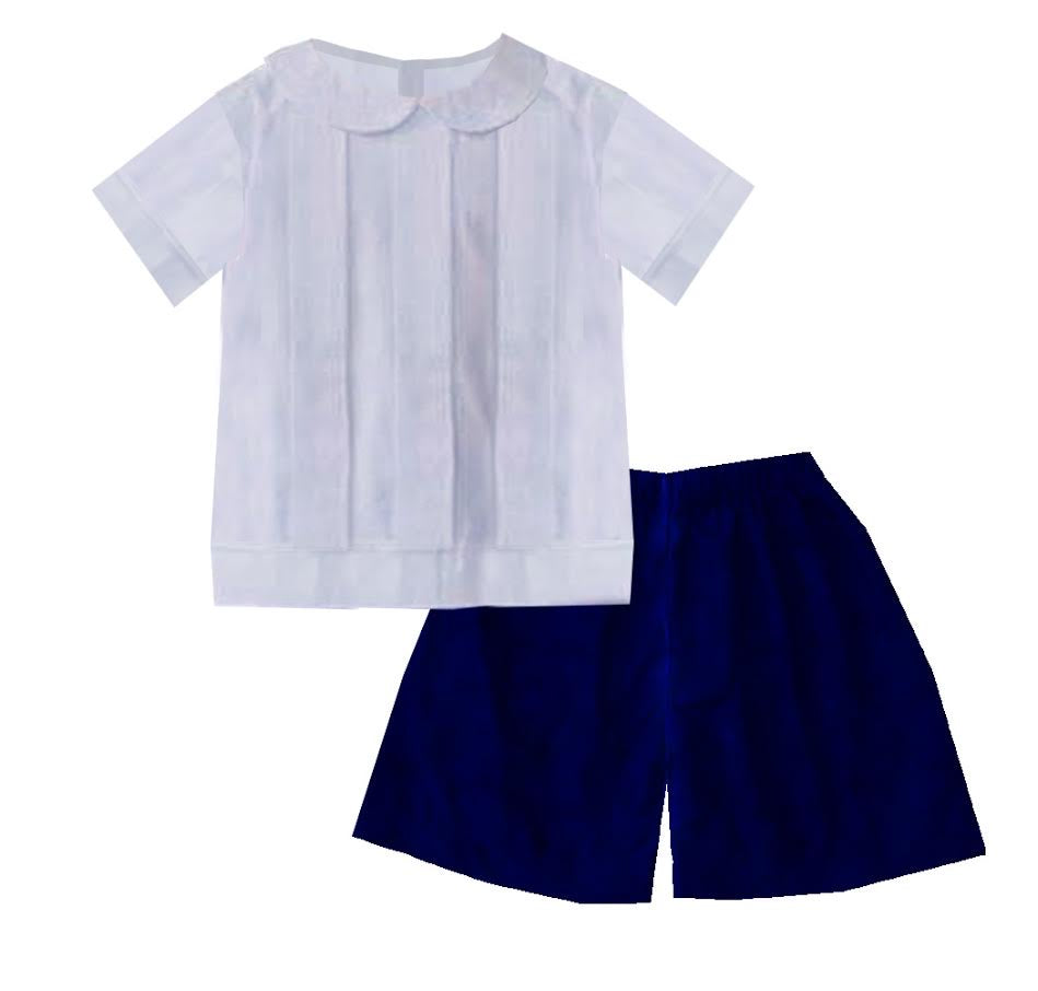 2020 Blue Christmas Velvet Boy Short Set