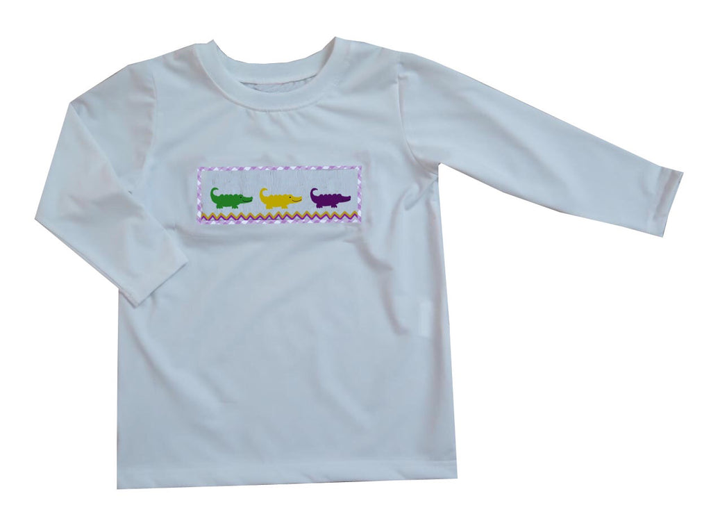 2019 MARDI GRAS Alligator White long sleeve tshirt