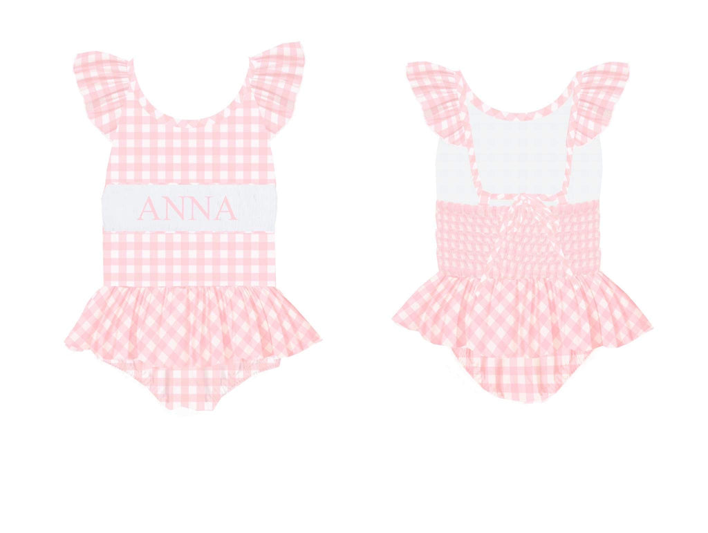 Personalized Pink Check 1 Piece Swimsuit