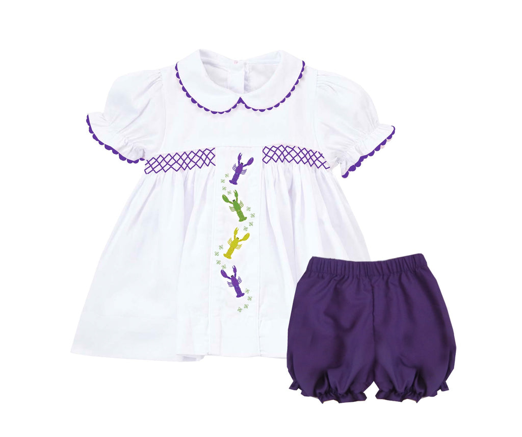 2019 Mardi Gras Crawfish embroidered Bloomer Set