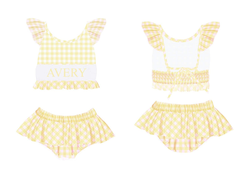 Personalized Yellow Check 2 Piece Swimsuit