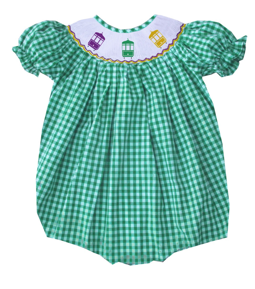 2019 MARDI GRAS streetcar green gingham girl bubble