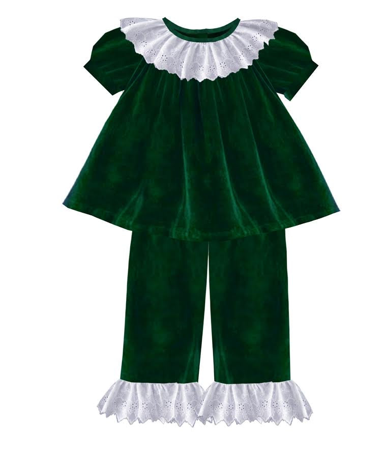 2020 Green Christmas Velvet Girl Pant Set
