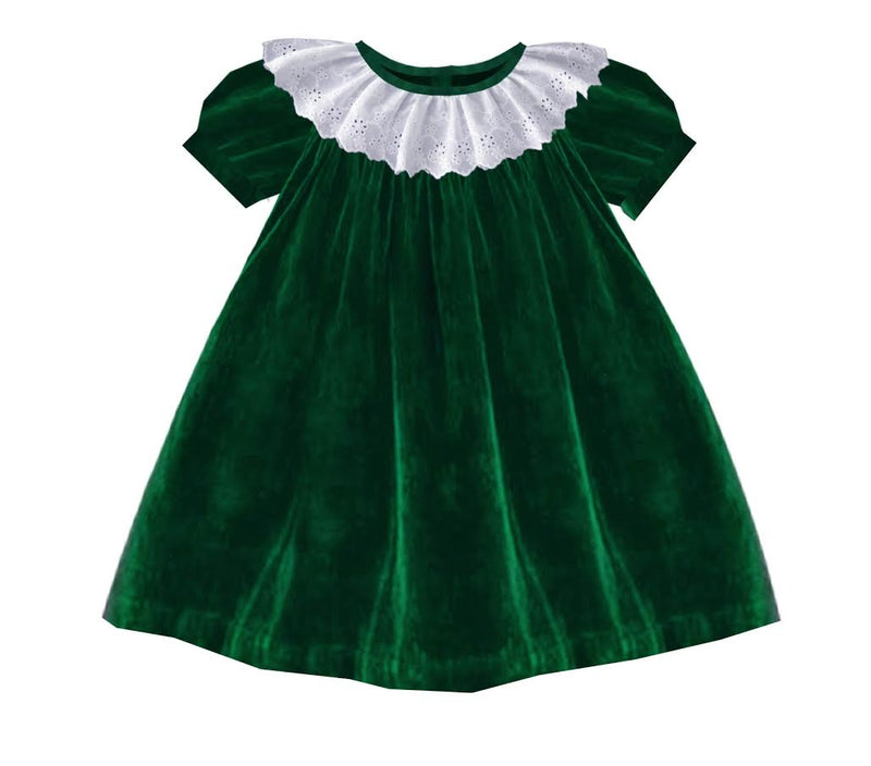 2020 Green Christmas Velvet Bishop Dress