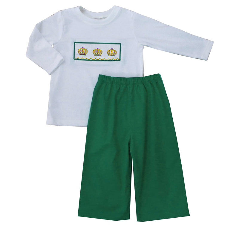 Mardi Gras Crown boys Pants Set