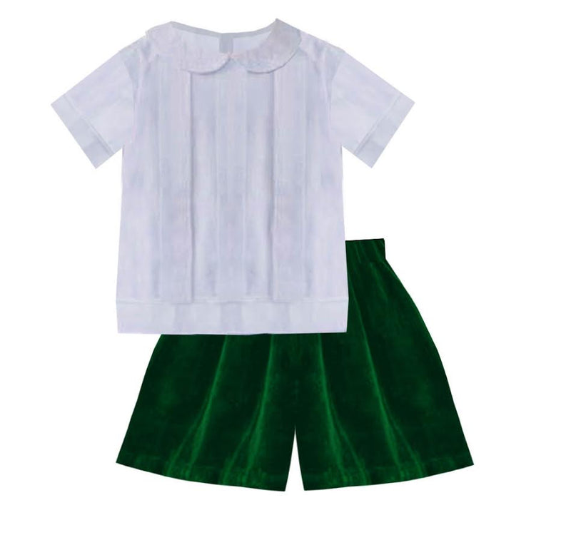 2020 Green Christmas Velvet Boy Short Set
