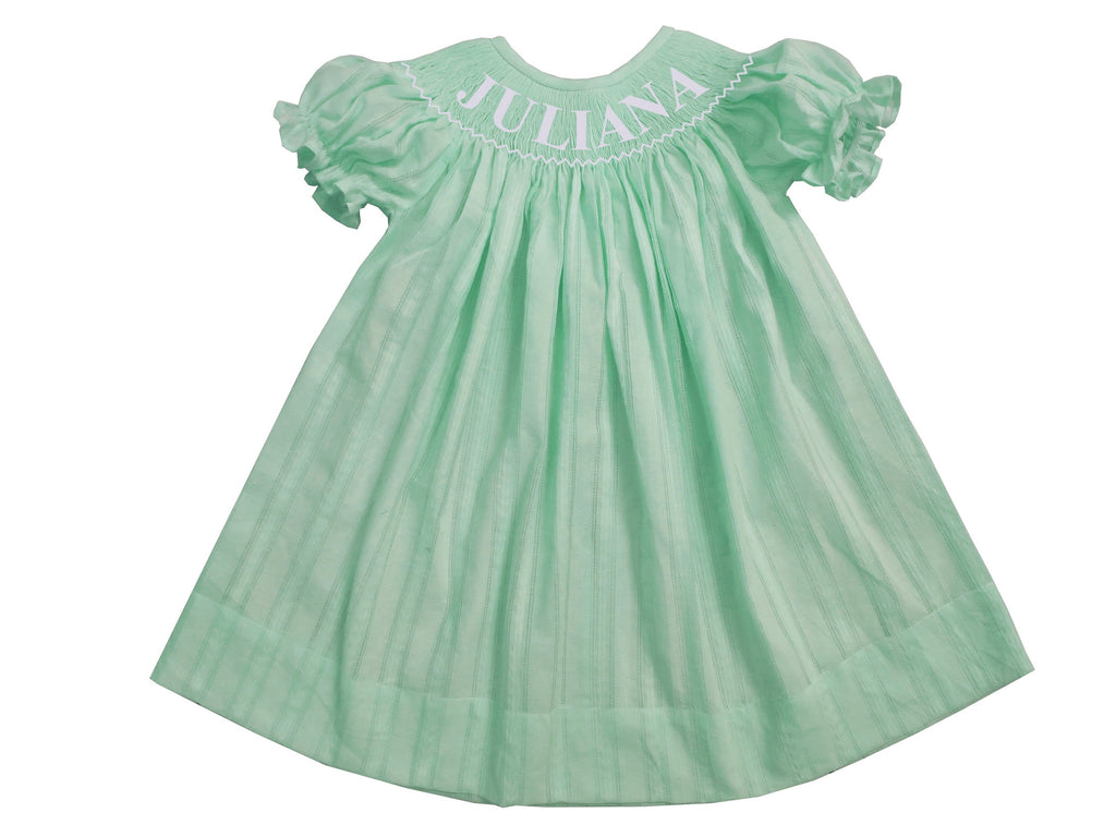 Personalized Mint Spring Bishop Dress