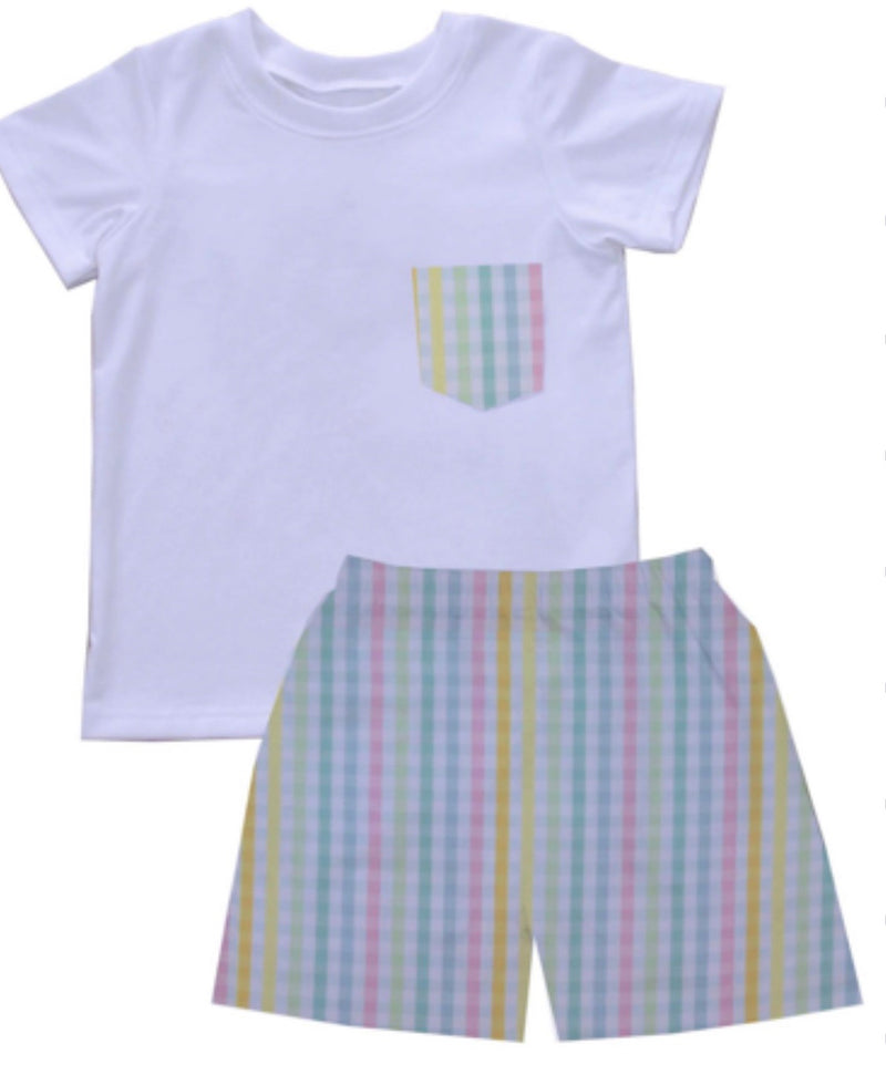 2020 Rainbow Gingham Boy Tshirt Short Set