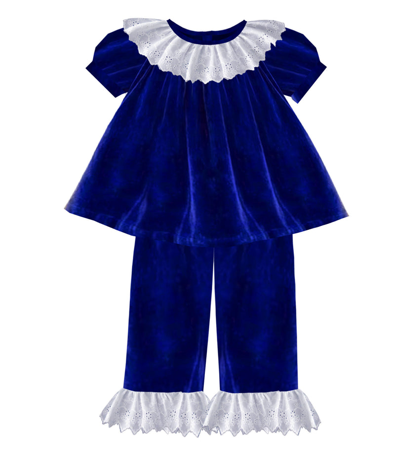 2020 Blue Christmas Velvet Girl Pant Set