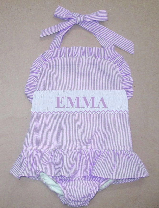 Personalized Lavender Seersucker 1 Piece  Swimsuit