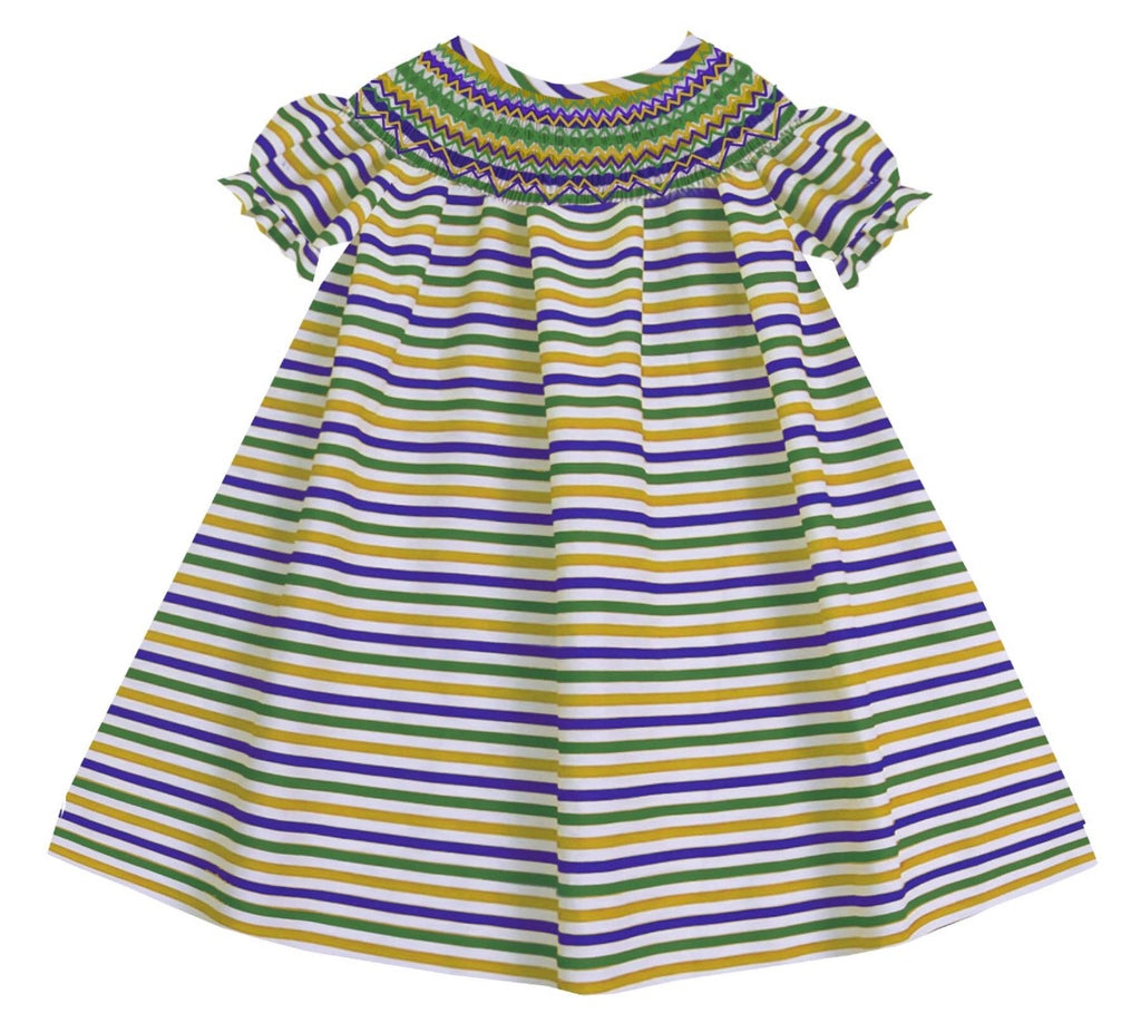 2019 MARDI GRAS stripe Bishop dress