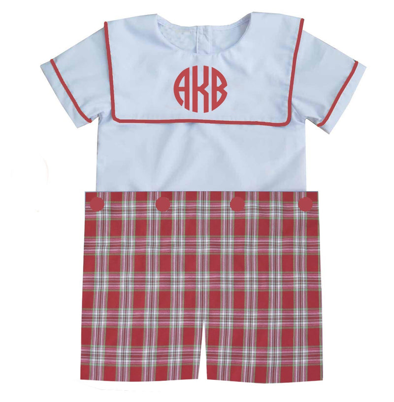 2019 Plaid Christmas Bib Boys Shortall