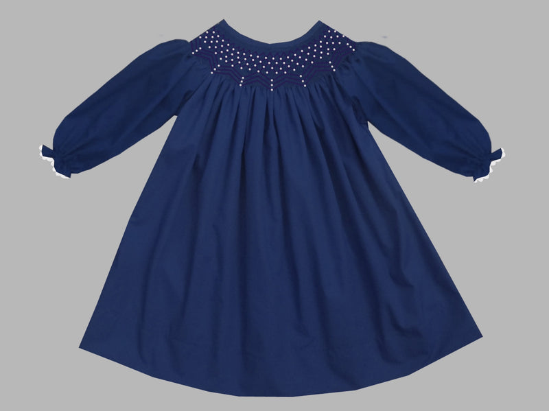 2019 Solid Pearl Long Sleeve Bishop Dress Navy