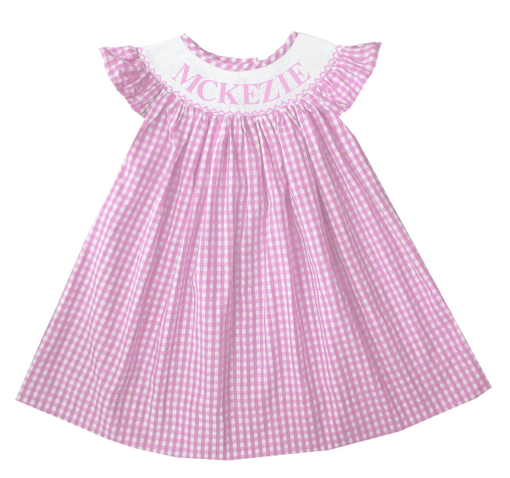 Personalized Pink Check Bishop Dress
