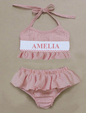 Personalized Red Seersucker Bikini Swimsuit