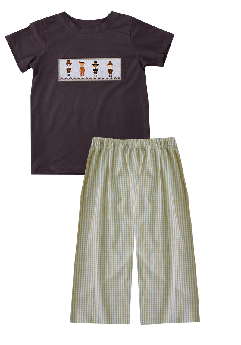 2019 Pilgrim and Indian Boy Pant Set with Brown Shirt