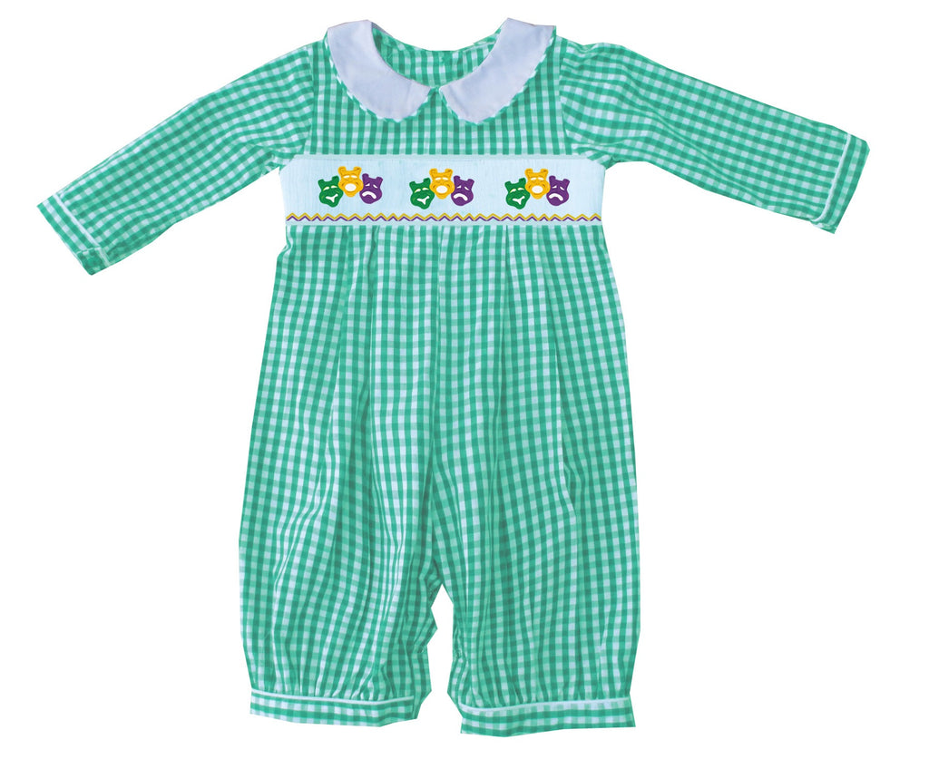 2019 MARDI GRAS Mask Green Gingham boy romper