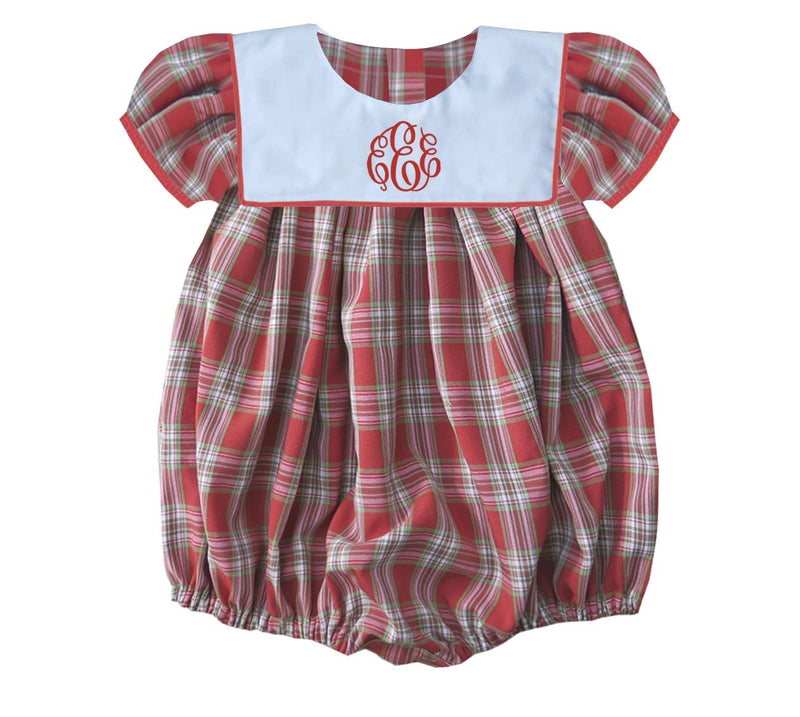2019 Plaid Christmas Bib Girls Bubble