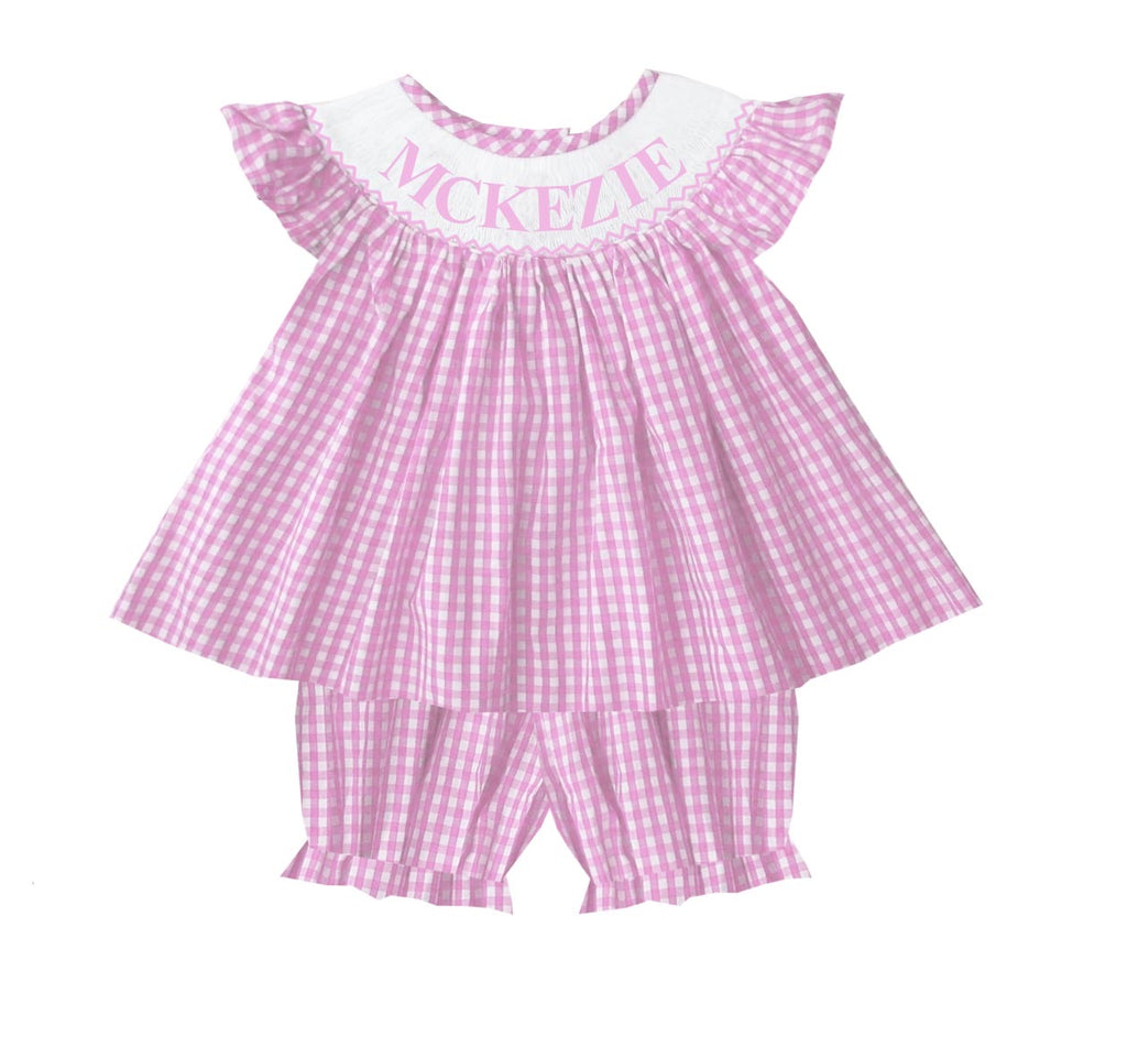Personalized Pink Check Girls Bloomer/Short Set