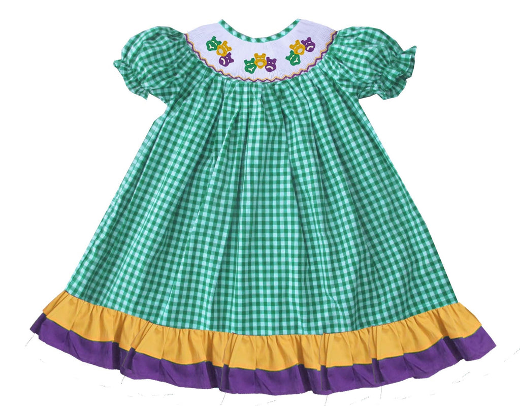 2019 MARDI GRAS Mask Green Gingham Bishop Dress