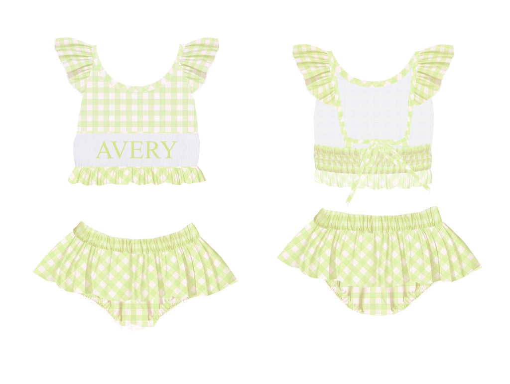 Personalized Green Check 2 Piece Swimsuit
