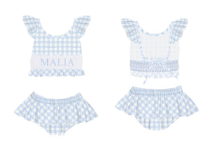 Personalized Blue Check 2 Piece Swimsuit