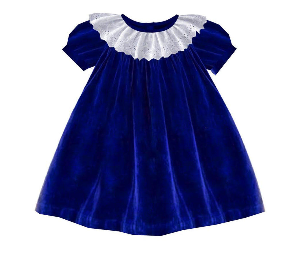 2020 Blue Christmas Velvet Bishop Dress