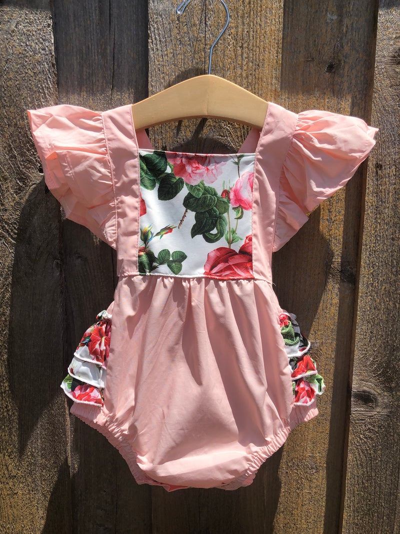 Blush Floral Ruffle Butt Bubble with Headband