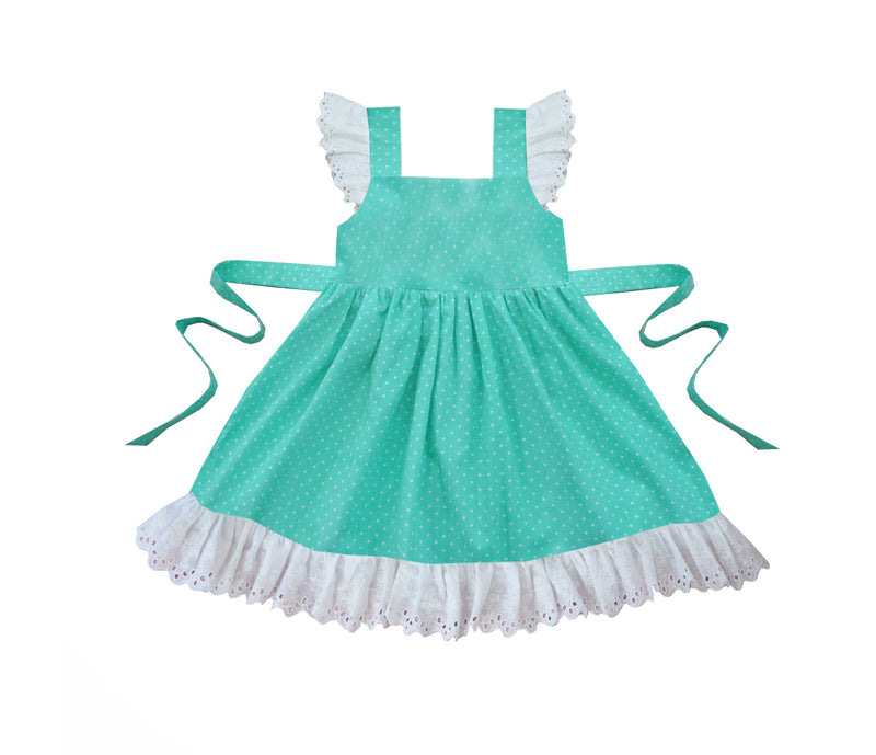 Mint Dots Pinafore Dress