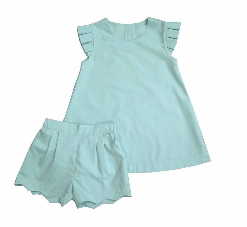 Mint Scalloped Short Set