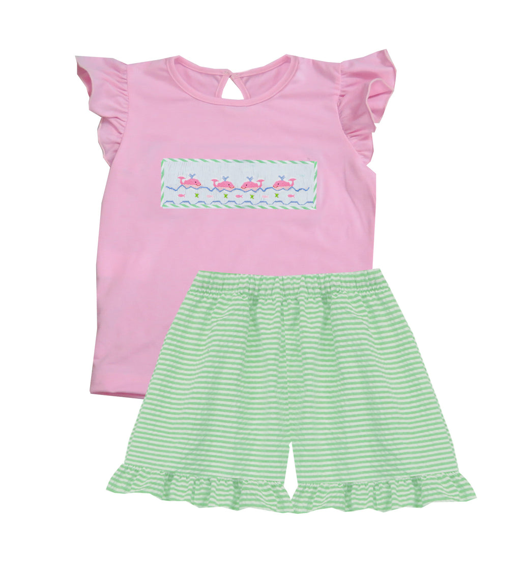 2020 Dolphin Ruffle Sleeve Girl Bloomer/Short Set