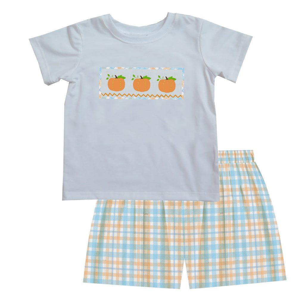 2020 Plaid Pumpkin Boy Tshirt Short Set