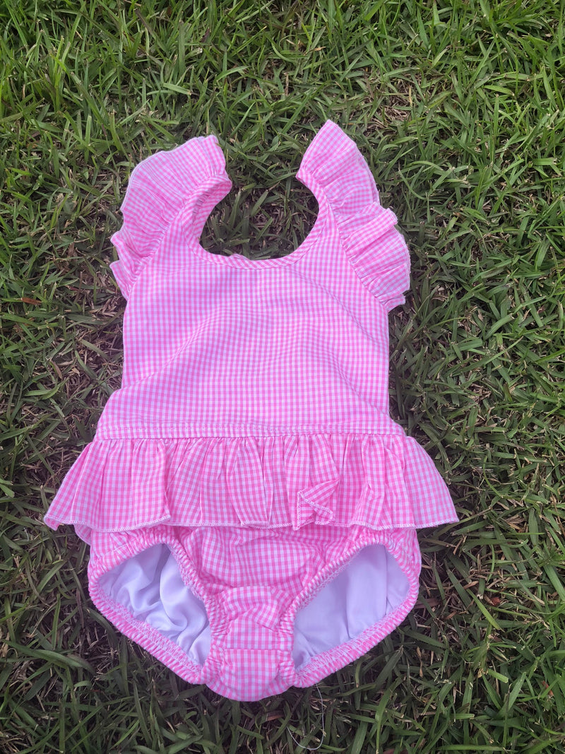 Pink Gingham 1 Piece Swim Suit